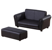 HOMCOM HOMCOM Kinderbank/sofa met voetenbank PVC zwart