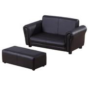 HOMdotCOM HOMdotCOM Kinderbank/sofa met voetenbank PVC zwart