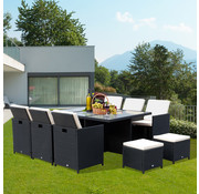 Outsunny Outsunny Loungeset poly rattan aluminium zwart 27-delig incl. kussen
