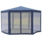 Outsunny Outsunny Partytent 6-hoekig met anti-muggenwanden blauw 390 x 390 x 250 cm