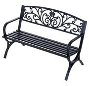 Sunny Sunny Stevige metalen tuinbank ronde vormen 2-pers zwart 127 x 60 x 85 cm