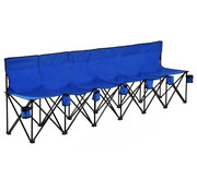 Outsunny Outsunny Campingbank opvouwbaar 6-zits met draagtas blauw 279 x 48 x 80