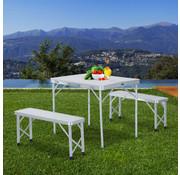 Outsunny Outsunny Camping- Picknicktafel met 2 bankjes verstelbaar aluminium MDF 90 x 66 x (40-70) cm