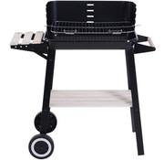 Sunny Sunny Houtskoolgrill BBQ grillwagen met 2 in hoogte verstelbare inklapbare zijkleppen metaal zwart 87 x 45 x 83 cm