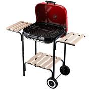 Sunny Sunny Houtskoolgrillwagen BBQ met windscherm extra laag en 2 zijtafels rood 98 x 49 x 81 cm