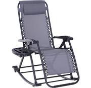 Outsunny Outsunny Schommelstoel opklapbaar en verstelbaar met kussen en bekerhouder grijs tot 120 kg