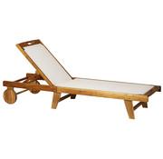 Sunny Sunny Ligstoel Sunseeker strandligbed met hoofdsteun en wieltjes hout wit 198 x 60 x 87-80-69-45 cm