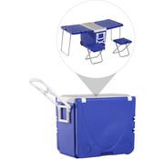 Outsunny Outsunny Koelbox 28L met wieltjes draagbare camping 3-in-1 set met 1 bijzettafel 2 krukjes opklapbaar