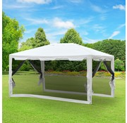 Outsunny Outsunny Partytent met 4 anti muggenwanden wit 400 x 300 x 245 cm