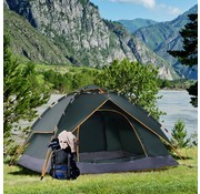 Outsunny Outsunny Tent Quick-Up 2 personen + 1 Kind Waterdichte Draagtas 2 Deuren Donkergroen 210 x 210 x 140 cm
