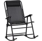 Outsunny Outsunny Schommelligstoel met hoofdkussen opvouwbaar zwart tot 120 kg 90 x 64 x 110 cm