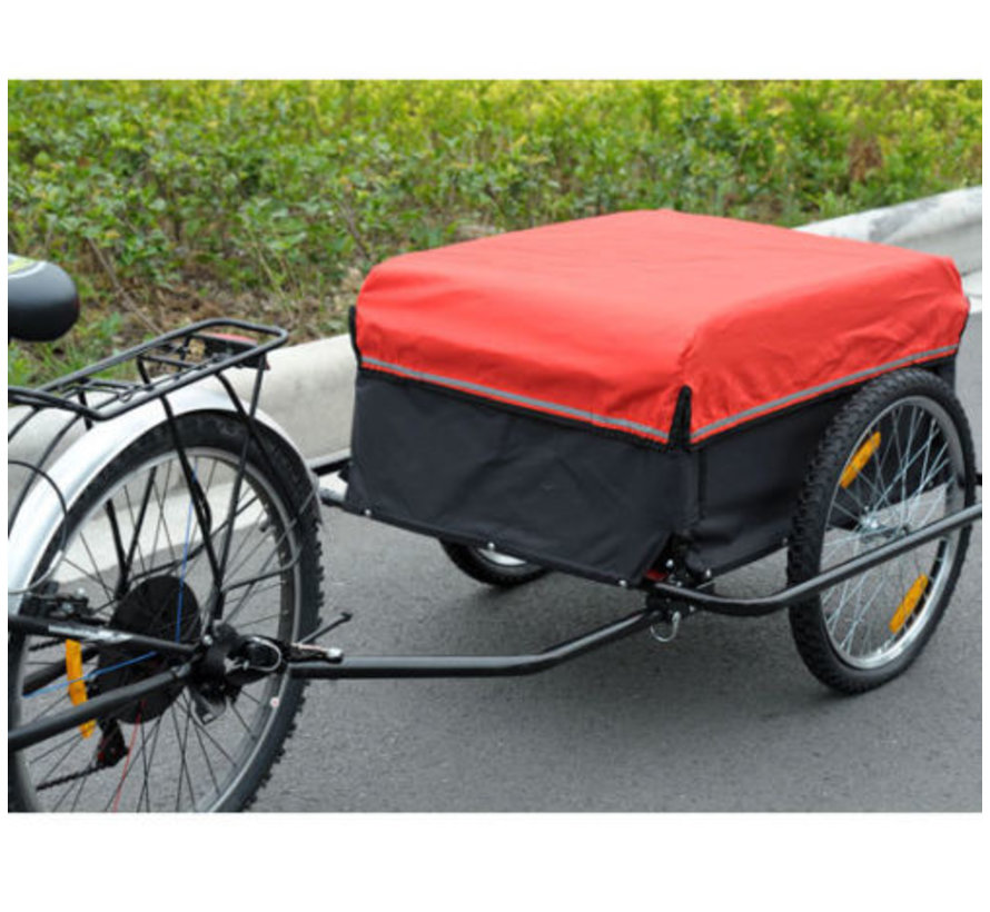 HOMdotCOM Waterafstotende Fietsaanhanger Fietskar   60 kg   80 x 60 x 35 cm   Rood Zwart
