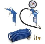 Hyundai Hyundai compressor accessoires 6 stuks - pneumatische bandenpomp / bandenvulpomp / bandenvulpistool - luchtdrukpistool / blaaspistool - spiraalslang - ventielen (3x)