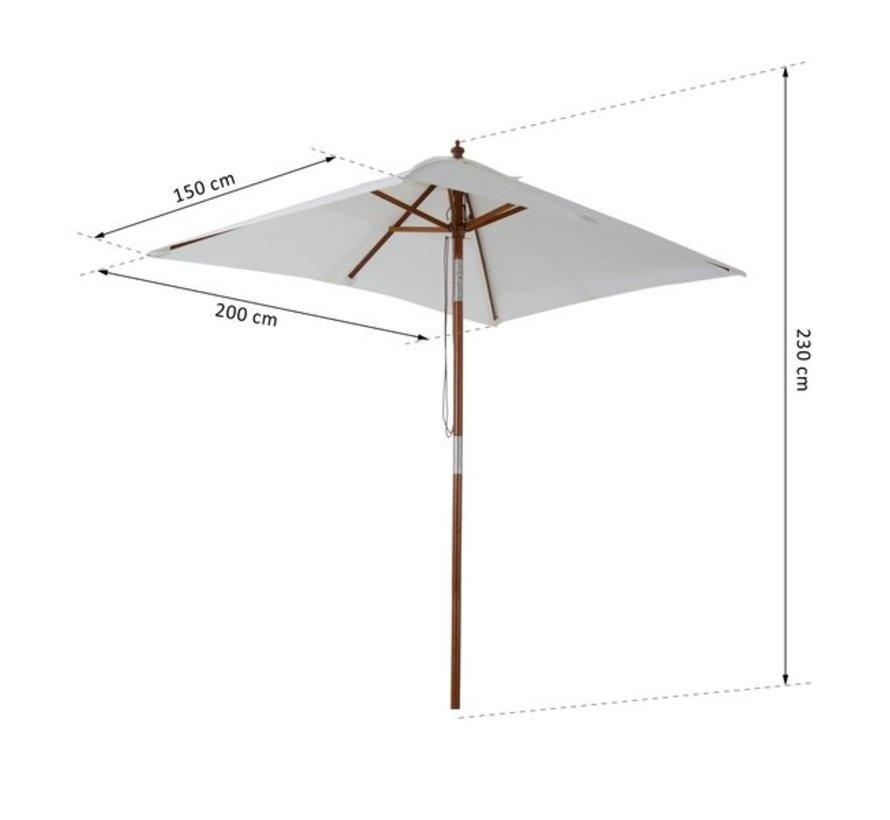 Outsunny Parasol vierkant knikbaar crèmewit 200 x 150 x 230cm