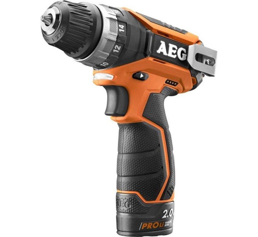 AEG BS 12 C2 (2x2,0 Ah PRO Li) accu-comp. boor/schroefmachine
