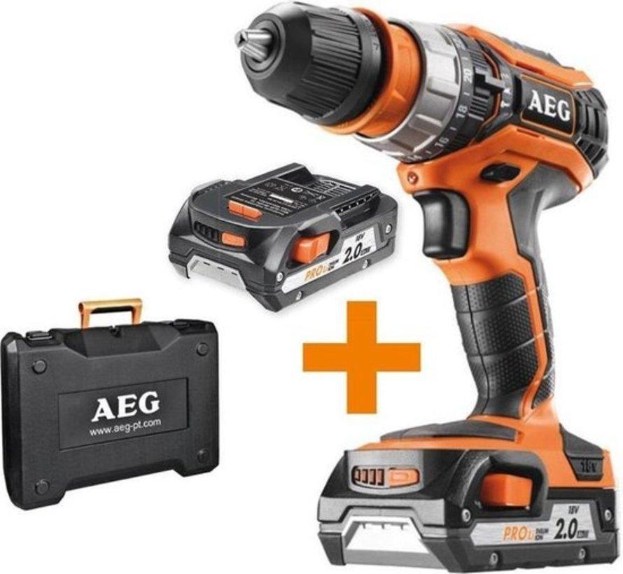 AEG BSB18C2X Klopboormachine – 18V/2,0Ah – Incl. accu's, lader en koffer