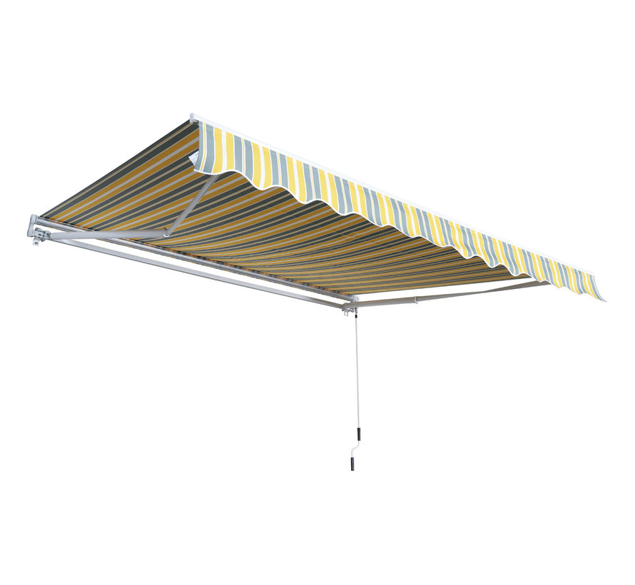 Outsunny Zonnescherm luifel handmatig geel-grijs waterafstotend 350 x 250 cm