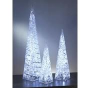 Generic Acryl piramide met 30 witte LED lamjes, 46 cm