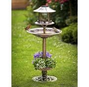 Generic Solar vogelbad met plantenbak groen