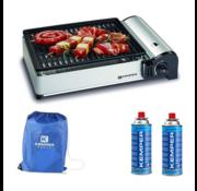 Kemper Kemper draagbare smart gas barbecue Tafelbarbecue Campingkooktoestel - incl. 2 gasflessen