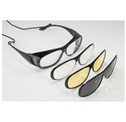Generic Overzetbril met 3 verwijderbare frames, 100% UV-400 bescherming, gepolariseerd, vergrootglazen 200%