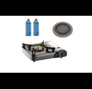 Kemper Kemper draagbaar gaskooktoestel - Gasbarbecue met kookplaat en 2 gasflessen - 2200W - 33x29x8 cm