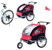 HOMdotCOM HOMdotCOM Fietskar Buggy 2-in-1 zwart/rood