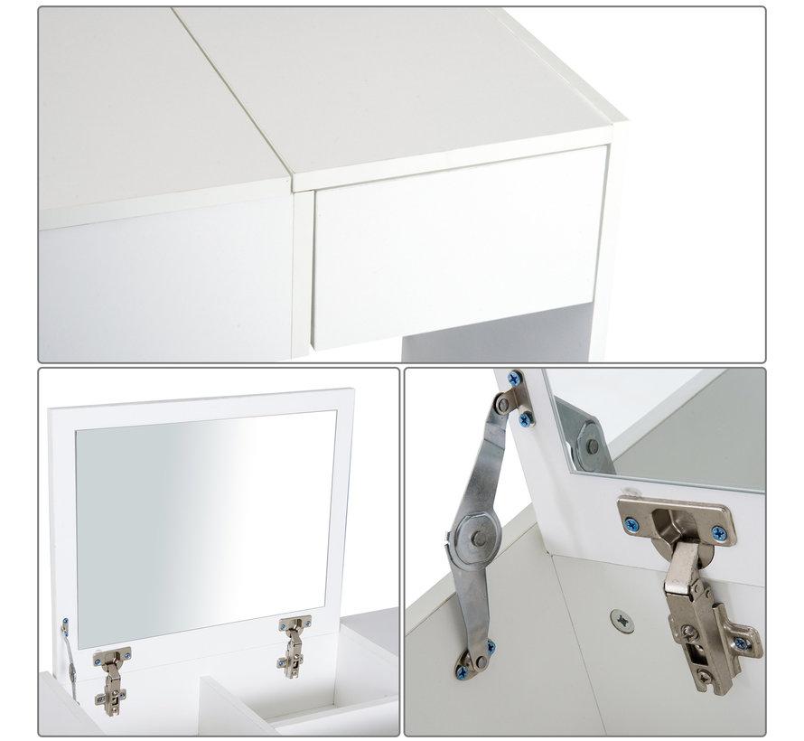 HOMdotCOM Kaptafel met opklapbare spiegel en kruk kunstleer - 80x40x79cm - wit
