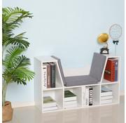 HOMCOM HOMCOM Kinder Boekenkast met zitje hout wit | 102 x 30 x 61cm