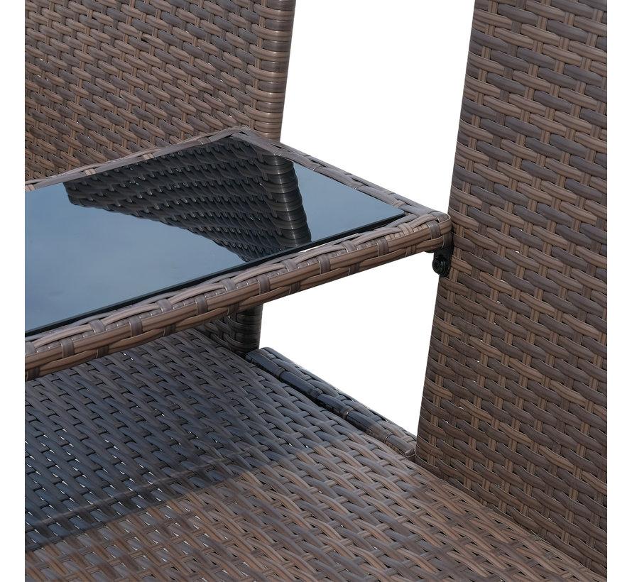 Sunny Luxe Tuinbank met theetafel zwart glasplaat gehard incl. kussens creme 133 x 63 x 84 cm