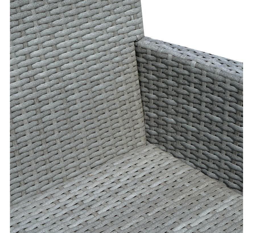 Sunny Luxe Tuinbank met theetafel grijs glasplaat incl. kussens creme 133 x 63 x 84 cm