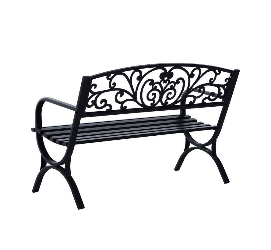 Sunny Stevige metalen tuinbank ronde vormen 2-pers zwart 127 x 60 x 85 cm