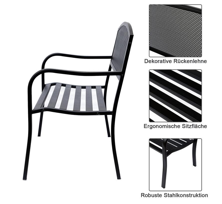 Sunny Metalen Tuinbank parkbank 2-pers zwart 126 x 60 x 85 cm