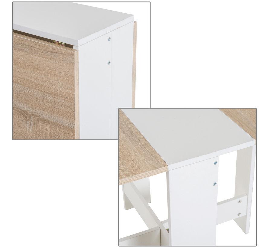 HOMCOM Eettafel inklapbaar eiken/wit 103 x 76 x 73,5cm