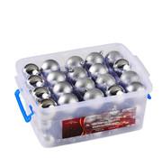 EDCO Kerstballen - 70 ballen - set in box - Plastic / Kunststof - Zilver