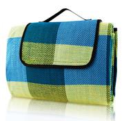 Deuba Deuba Picknickdeken met praktische draaggreep 2x2m lichtblauw geel