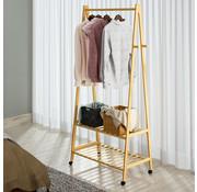 Casaria Casaria Kledingstandaard bamboe met kledingstang + 2 planken en 4 rollen