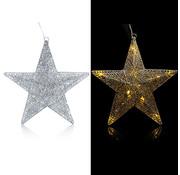 Deuba XXL Kerstster silver -LED - Glitter