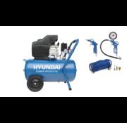 Hyundai Hyundai compressor 50 liter INCLUSIEF 6  bandenpompen