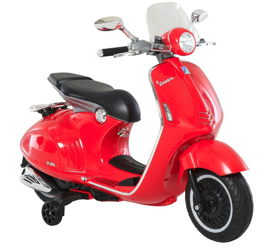 Vespa 946 Primavera GTS Elektrisch voertuig 12V  - Kinderscooter met MP3-muziek verlichting 3-6 jaar - Rood