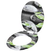 Casaria Casaria MDF-toiletbril met softclosing mechanisme steen&bladeren