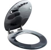 Deuba Deuba Toiletbril Stonedesign 45cm x 38cm x 5cm met softclosing mechanisme en roestvrijstalen scharnieren