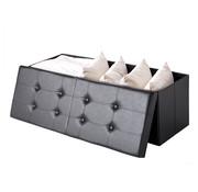Casaria Klapbare zitkist met klapdeksel zwart - 80x40x40cm