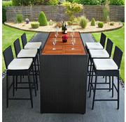 Deuba Deuba Polyrattan Bar Set 13 st. - tafelblad acaciahout - incl. stoelbekleding