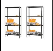 Erro 2 Stuks ERRO Metalen Opbergrek/Stellingkast met 4 legborden - 200kg draagkracht - (HxBxD) 175x73x30cm - 50kg per plank