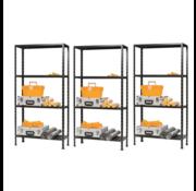Erro 3 Stuks ERRO Metalen Opbergrek/Stellingkast met 4 legborden - 200kg draagkracht - (HxBxD) 175x73x30cm - 50kg per plank