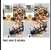 Koopman 2x Kerstboomverlichting 14 Meter Warm wit - 700led voor binnen en buiten