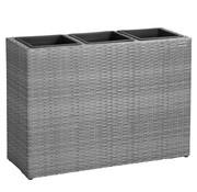 Deuba Deuba Polyrattan bloempot grijs 83x30,5x60cm