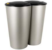 Generic Dubbele afvalbak Klein 2 x 25L voor scheiden afval -  zilver kunststof