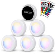 Monzana Monzana LED-lamp Set van 6 Skab Kleurrijk met afstandsbediening